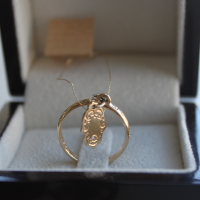 """Пръстен """"Хамса"""", злато с вграден диамант"""