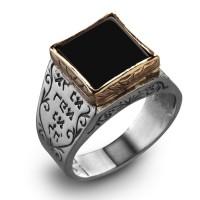 """Пръстен """"Рафаел"""" – Кабала формулата на 5- те метала , сребро, злато, Onyx"""