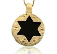 """Колие """"Звездата на Давид и Хамса ръчички"""" , злато и оникс"""