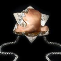 """Пендантив """"Звездата на Давид и гълъб"""", злато и сребро"""