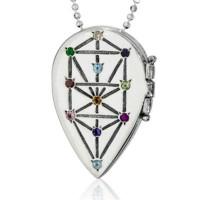 """Пендатив """"Дървото на живота"""", сребро и 11 скъпоценни камъка"""